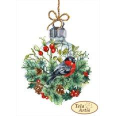 фото: картина для вышивки бисером, Снегирь и хрустальный шар
