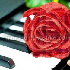Схема для вышивки бисером Пианино и роза