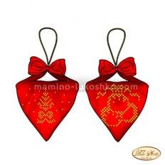 Схема для вышивки бисером Пендибуль новогодний красный