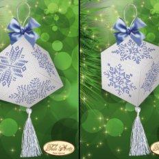 Схема для вышивки бисером Подвеска-кубик Хрустальные снежинки