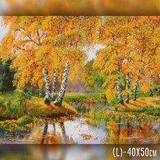 фото: картина в алмазной технике Осенний пруд