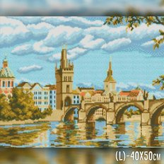фото: картина в алмазной технике Мост через реку