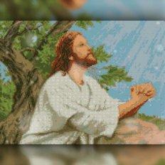 изображение: икона в алмазной технике Молящийся Иисус