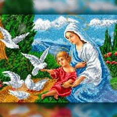 изображение: икона в алмазной технике Иисус и Дева Мария