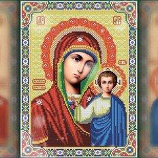 изображение: икона в алмазной технике Казанская икона Божией Матери