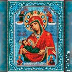 изображение: икона в алмазной технике Божией Матери Млекопитательница