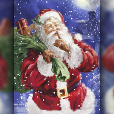 фото: картина в алмазной технике Дед Мороз с подарками