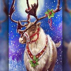 фото: картина в алмазной технике Помощник Деда Мороза
