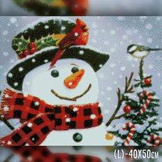 фото: картина в алмазной технике Новогодний снеговик
