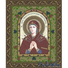 Схема для вышивки бисером Икона Образ Пресвятой Богородицы Семистрельная