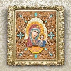изображение: икона в жемчужном окладе, Образ Пресвятой Богородицы Казанская