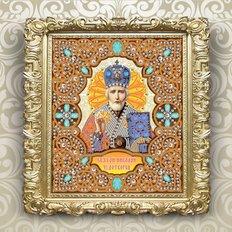 изображение: икона в жемчужном окладе Святой Николай