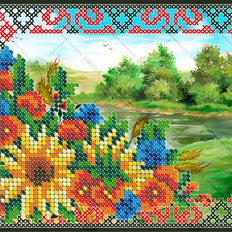 фото: картина, вышитая бисером и крестиком, Полевые цветы
