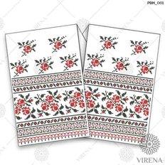 фото: рушник свадебный для вышивания бисером, Красно-чёрный орнамент