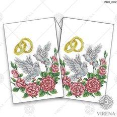 фото: рушник свадебный для вышивания бисером, Розы и голуби
