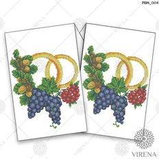 фото: рушник свадебный для вышивания бисером, Калина, виноград и жёлудь