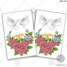 фото: рушник свадебный для вышивания бисером, Розы и пара голубей