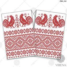 фото: рушник свадебный для вышивания бисером, Красный орнамент и петухи