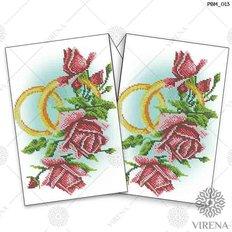 фото: рушник свадебный для вышивания бисером, Розы и обручальные кольца