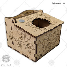 фото: деревянная шкатулка-мусорничка для рукоделия