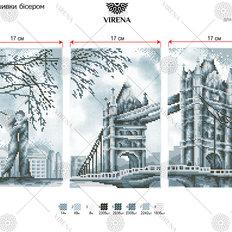 фото: модульная картина, вышитая бисером и крестиком, Тауэрский мост