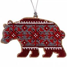 фото: вышитый бисером на деревянной основе Медведь