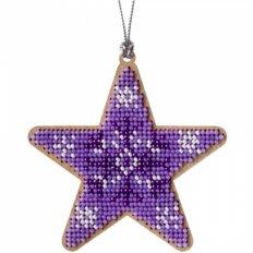 фото: вышитый бисером на деревянной основе Звезда