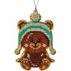 фото: вышитый бисером на деревянной основе Медвежонок