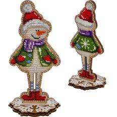 фото: набор для вышивки бисером по дереву, Снеговик
