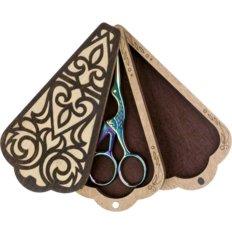 фото: деревянная шкатулка для ножниц