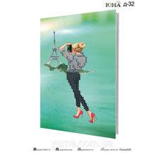 фото: сшитая обложка на паспорт для вышивки бисером девушка и Эйфелева башня