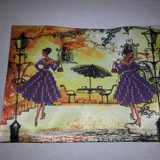 фото: сшитая обложка на паспорт для вышивки бисером девушка