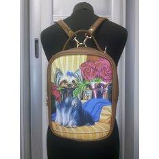 фото: пошитый рюкзак для вышивки бисером с картинкой Терьер