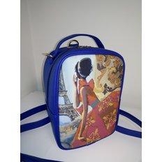 фото: пошитый рюкзак для вышивки бисером с картинкой девушка