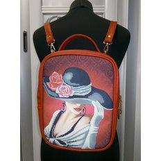 фото: пошитый рюкзак для вышивки бисером с картинкой девушка в шляпе