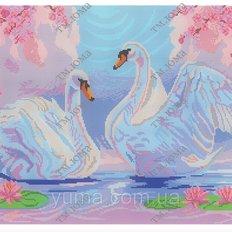 фото: картина для вышивки бисером, Пара лебедей