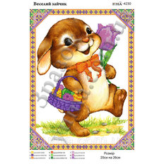 фото: схема для вышивки салфетки, Веселый зайка
