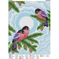 фото: картина для вышивки бисером Снегири