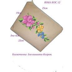 фото: сшитая косметичка с нанесенной схемой для вышивки бисером