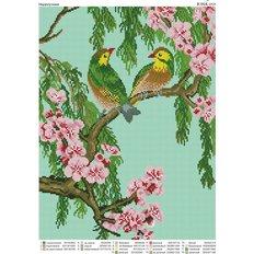 фото: картина для вышивки бисером, пара попугаев