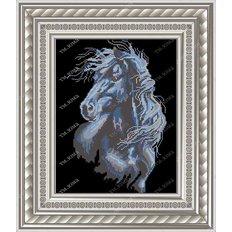 фото: картина для вышивки бисером черный конь
