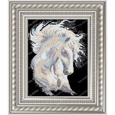 фото: картина для вышивки бисером белый конь