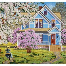 фото: картина для вышивки бисером, дом