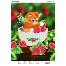 фото: картина для вышивки бисером Клубничка и котик